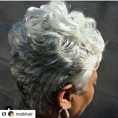 "55 Likes, 2 Comments - LovinOURGrayHair (@ourgrayhairisbeautiful) on Instagram: ""Flawless!!!! #Repost @mobhair #GrayHair #GrayPixie #ShortGraySlay #NaturallyGrayNaturallySlay…"""