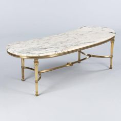 Mid-Century Marble-Top Kidney Shaped Brass Coffee Table 6