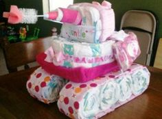 Tank made from diapers, blankets, and other baby products :)