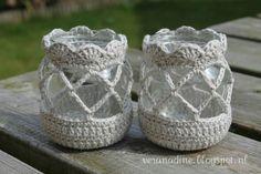 Crochet Home, Love Crochet, Crochet Gifts, Diy Crochet, Crochet Jar Covers, Crochet Decoration, Crochet Amigurumi, Creation Couture, Jar Crafts