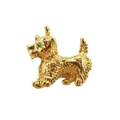 Terry the Terrier Gold Tone Dog Brooch