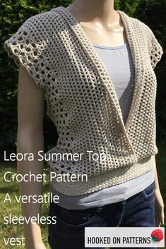 Crochet Sleeveless Top - Leora Summer Top Crochet Pattern - Crochet Patterns To Wear from Hooked On Patterns. A versatile summer top which can be worn multiple ways! Visit to see all the styles you can achieve from just this one crochet pattern! Beau Crochet, Moda Crochet, Pull Crochet, Crochet Motifs, Knit Crochet, Tunisian Crochet, Free Crochet, Cardigan Au Crochet, Crochet Vest Pattern