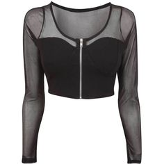 Star Black M/L Mesh Long Sleeve Crop Top ($6.76) ❤ liked on Polyvore featuring tops, crop tops, shirts, black, cut-out crop tops, long-sleeve shirt, shirt top, long sleeve shirts and mesh top