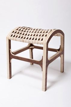 "Hyeonil Jeong created the Caterpillar Chair out of CNC-cut pieces of plywood woven together using bungee cord to form a flexible seat. Jeong says, ""No matter how stiff each piece is, flexible relation makes an smooth flow. Its elastic connection allows an organic surface movement despite the rigidity of ply-wood material."""