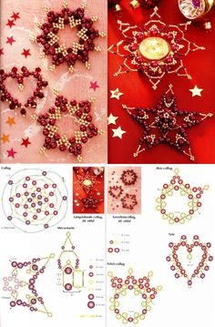 Gold standard: incorporating gold in jewelry projects Beaded Christmas Decorations, Christmas Tree Ornaments, Christmas Crafts, Beaded Ornament Covers, Beaded Ornaments, Beading Patterns Free, Beading Tutorials, Natal Diy, Beaded Crafts