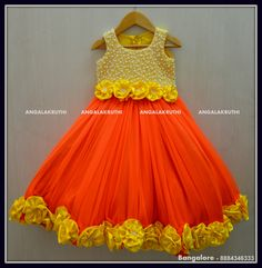 #Kids Frock with pearl hand Embroidery by Angalakruthi boutique #Kids frock with flower designs watsapp:8884347333