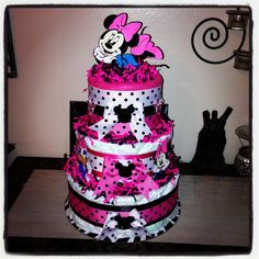 Minnie Mouse Diaper Cake / Disney Diaper Cake on Etsy, $70.00