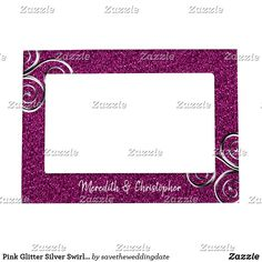 Pink Glitter Silver Swirls Wedding Magnetic Frame