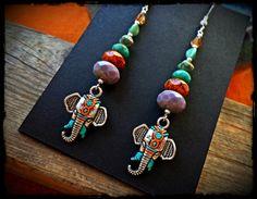 Painted Elephant earrings Indian Bohemian boho earrings by anainc, $37.00