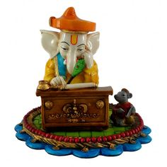 Medium Munim Ganesha / Ganpati Idol / Statue / Figurine / Sculpture - Table Piece