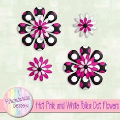 Free polka dot flower design elements / embellishments. Use them in your digital scrapbooking, digital planner, card making or in other digital design projects. 300 dpi. Instant download.