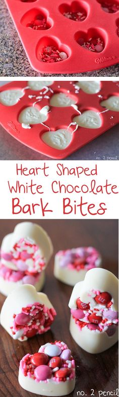 Interesting concept: start with candy bits then solidify with chocolate; What about sour candy with some kind of gel rather than chocolate? Valentine's Day White Chocolate Bark Bites with M&M's Valentines Day Treats, Holiday Treats, Holiday Recipes, Kids Valentines, Valentine Cupcakes, Heart Cupcakes, Valentine Sday, Valentines Recipes, Valentine Stuff