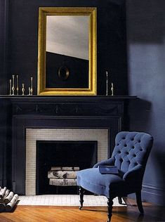 Most up-to-date Free black Fireplace Mantels Suggestions black-fireplace-mantels Dark Walls, Blue Walls, Living Spaces, Living Room, Small Living, Dark Interiors, Blue Rooms, Interiores Design, Home Projects
