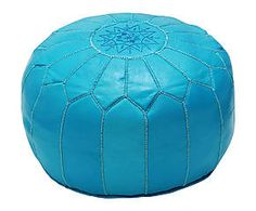 Handgemaakte Pouf Tassira, aquakleurig, diameter 50 cm