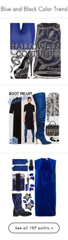"""""""Blue and Black Color Trend"""" by yours-styling-best-friend ❤ liked on Polyvore featuring black, Blue, TheDress, Roberto Cavalli, Giuseppe Zanotti, Madina Visconti di Modrone, lastminutecostume, La Perla, Kenneth Jay Lane and Maison Rabih Kayrouz"""