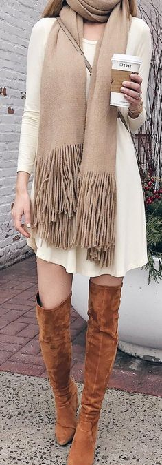 #winter #fashion /  White Dress / Camel Fringe Scarf / Camel Velvet Boots