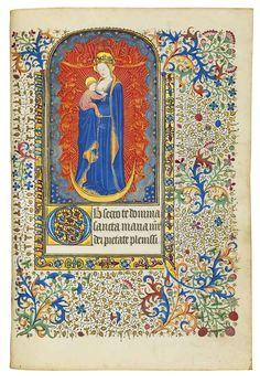 BOOK OF HOURS, in Latin and French, ILLUMINATED MANUSCRIPT ON ...