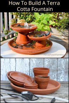 indoor water fountains Water Feature Project: How To Build A Terra Cotta Fountain Turn a few flower pots into this attractive terra cotta fountain thats simple to make. Small Indoor Water Fountains, Small Water Fountain, Bird Fountain, Diy Garden Fountains, Indoor Fountain, Fountain Ideas, Indoor Water Features, Water Features In The Garden, Terra Cotta
