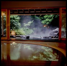 Onsen (hot spring) bath at Gora Kadan Ryokan, Hakone, Japan.