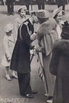 """thefirstwaltz: """"King George VI kisses his mother, Queen Mary, on the cheek before he leaves for his tour of Canada and the USA. He is surrounded by his family: Margaret, Elizabeth (future Queen Elizabeth II) and Queen Elizabeth (later, the Queen Mother). Princess Elizabeth, Princess Margaret, Queen Elizabeth Ii, Princess Diana, Margaret Rose, English Royal Family, British Royal Families, Victoria Reign, Queen Victoria"""