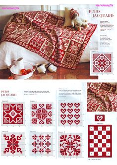 just a photo of beautiful red and white pattern - I think for knitting - but u can do cross-stitch embroidery or crochet too --- on a Russian site --- Вязание спицами: узо Knitted Afghans, Knitted Blankets, Knitting Charts, Knitting Stitches, Free Knitting, Kids Knitting, Sock Knitting, Finger Knitting, Knitting Machine
