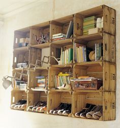 Above desk shelving made of repurposed crates