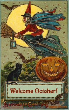 Welcome October!  Vintage gelatin Halloween postcard of a witch in blue and red on a broom flying past a full moon, black cat and a jack o'lantern.