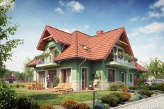 Zdjęcie projektu Forsycjowo DM-6614 KRF2765 House Design Pictures, Modern House Design, Beautiful House Plans, Beautiful Homes, Roof Design, Exterior Design, Casas Country, Hut House, Cottage Plan