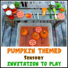 Pumpkin Themed Sensory Invitation to Play. So fun for a little group of kids!!