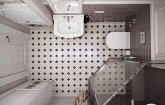 Можно ли разместить на пяти квадратах душевую, туалет, полноценную раковину, зону стирки, зону хранения белья и бытовой химии? Да! Если следовать советам профи