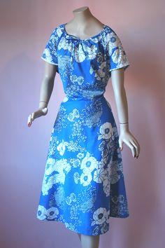 Vintage 1960s Graphic Rose Blue Print Scoop Gypsy Neckline Flared Dress  http://www.ebay.co.uk/itm/Vintage-1960s-Graphic-Rose-Blue-Print-Scoop-Gypsy-Neckline-Flared-Dress-UK16-/371565333529?ssPageName=STRK:MESE:IT