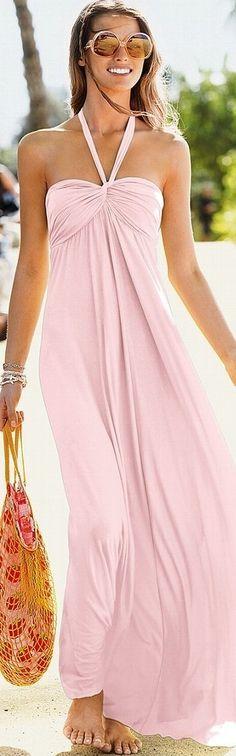 Fabulous summer fashion pink maxi dress with sun glasses
