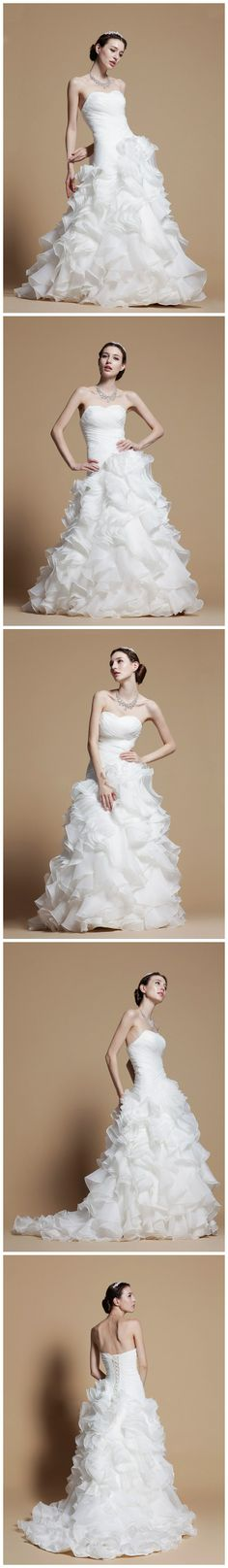 Spring New Arrival Ruffled Organza A-Line With Dropped Waist Wedding Dress