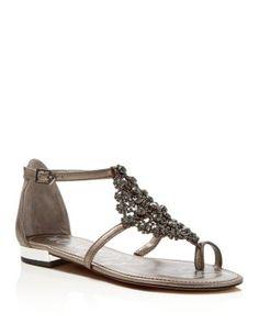 Sam Edelman Dillan Metallic Jeweled T-Strap Flat Sandals | Bloomingdale's