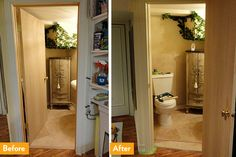 Make more room in a tight space with this simple adjustment. Change the door swing side or direction. Brilliant! Before and after a door swing change.