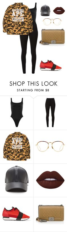 """""""Untitled #567"""" by amoney-1 ❤ liked on Polyvore featuring Norma Kamali, Victoria Beckham, A BATHING APE, Linda Farrow, Lime Crime, Balenciaga and Chanel"""