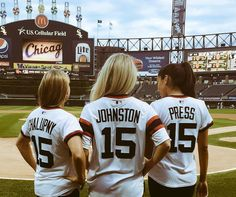 Lori Chalupny, Julie Johnston and Christen Press throw out first pitch at a Chicago White Sox game. (Twitter)