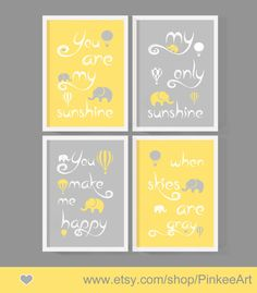 You Are My Sunshine Baby Decor Yellow And Gray Nursery Art Quotes Elephant Kids Song Print