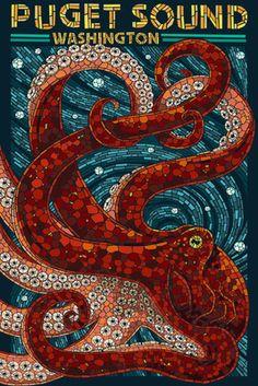 Puget Sound, Washington - Octopus Mosaic - Lantern Press Poster