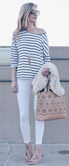 #spring #fashion  White Striped Top & White Skinny Jeans & Beige Printed Tote Bag