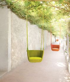 Adagio suspended seat by Francesco Rota for Paola Lenti, shown on the grounds of Jack Lenor Larsen's LongHouse Reserve in East Hampton, N...
