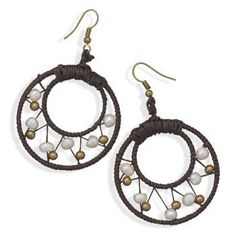 Brown Dreamcatcher Style Round Crochet Earrings with White Pearls and Brass Beads Wildfire Fashion