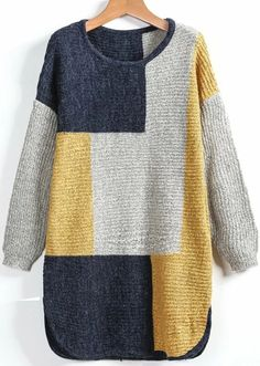 Sheinside offers Yellow Grey Long Sleeve Plaid Loose Sweater & more to fit your fashionable n. Plus Size Sweaters, Sweaters For Women, Pullover Shirt, Loose Sweater, One Piece Swimwear, Knitting Designs, Sweater Outfits, Crochet Clothes, Pulls