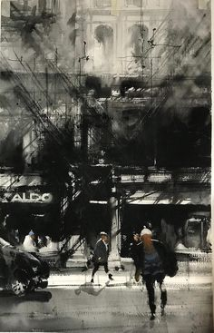 Digital Paintings by Belgian Artist Jonas De Ro Watercolor Architecture, Watercolor Landscape, Watercolor Artists, Watercolor Paintings, Watercolours, Monochromatic Paintings, Badass Aesthetic, Urban Sketchers, Urban Landscape
