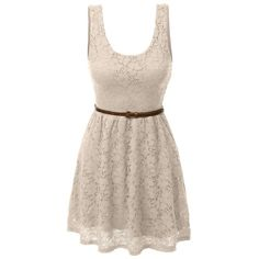LE3NO Womens Sleeveless Lace Crochet Flared Dress with Belt (280 MXN) ❤ liked on Polyvore featuring dresses, short dresses, pink lace dress, short lace dress, pink floral dress, crochet lace dress and floral mini dress