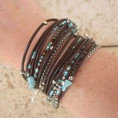 Boho Chic Brown Leather Wrap Bracelet