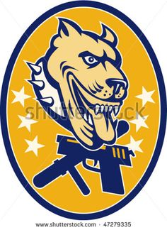 vector Imagery shows an angry pit bull with collar,stars,baton and gun set inside an ellipse. #security #retro #illustration