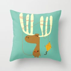A moose ing Throw Pillow by Budi Satria Kwan   Society6 #art  #design #awesome #print  #poster  #color  #cool  #gift  #gift #ideas  #hipster  #funny  #Illustration  #threadless  #drawing  #girls  #beautiful #humor