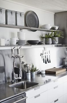 Love the kitchen colors and open shelving