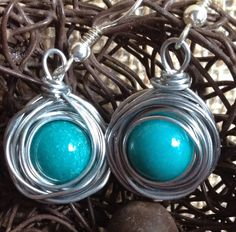 Silver wire wrapped earrings, Bird's nest turquoise drop earrings,  handmade - pinned by pin4etsy.com